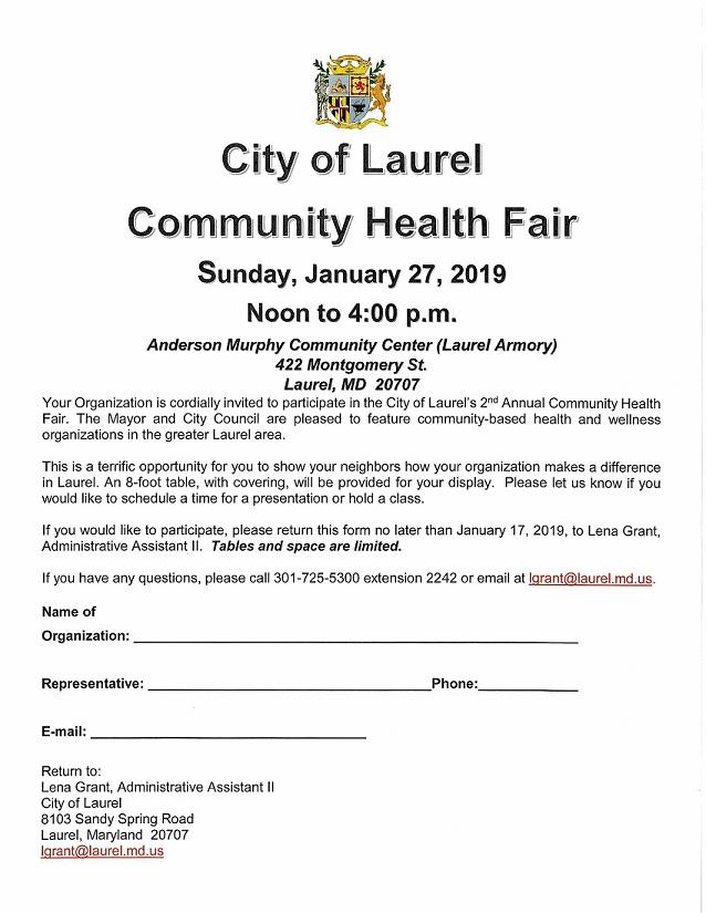 Health Fair Form 2019