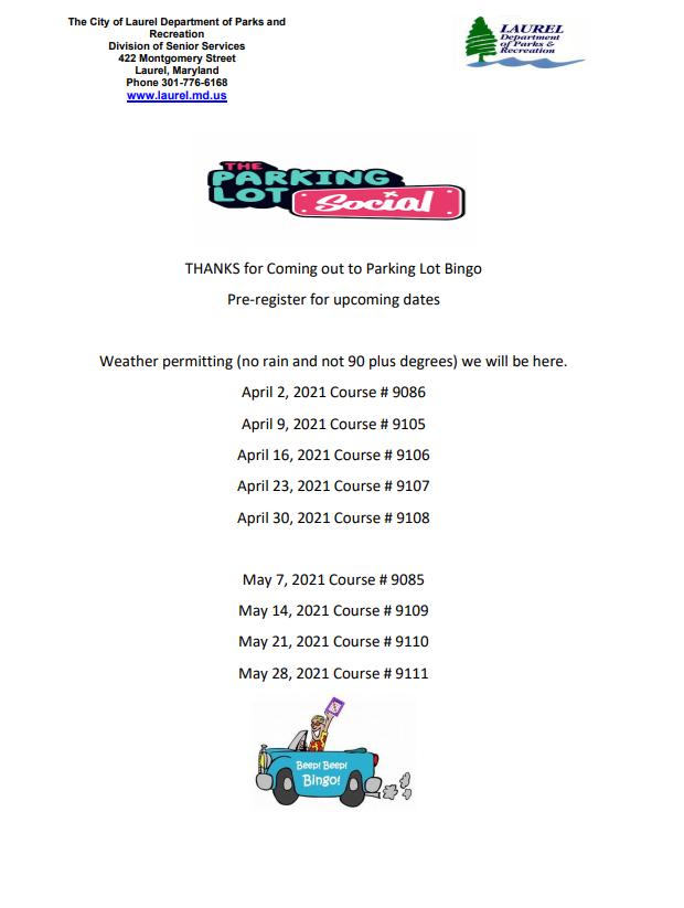 Parking Lot Bingo Dates